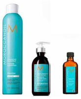 PACK MOROCCANOIL, CREMA PEINAR, TREATMENT Y LUMINOUS SPRAY MEDIUM