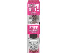 Opi drop to it: Esmalte blanco + secante Drip Dry